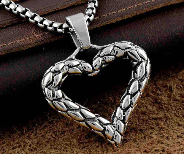 Never Fade Stainless Steel Mens Womens Love Heart Pendant Necklace Jewelry