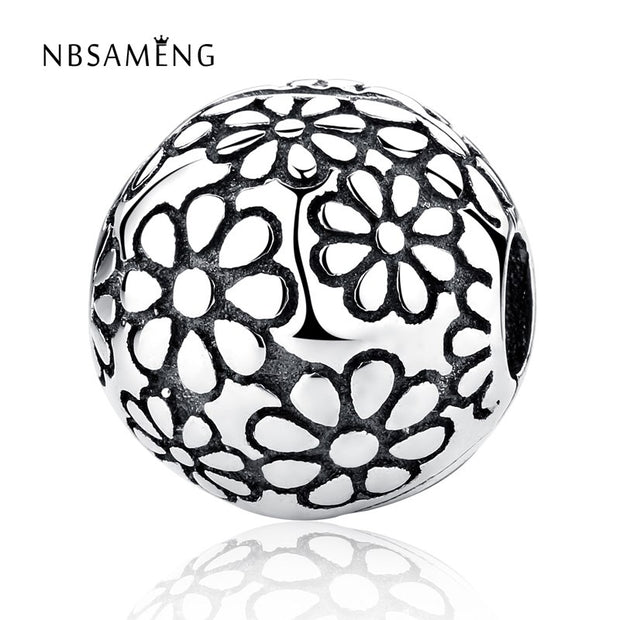 New 100% 925 Sterling Silver Bead Charm Daisy Clip Safety Stopper Beads Fit Pandora Bracelets & Bangles Necklace