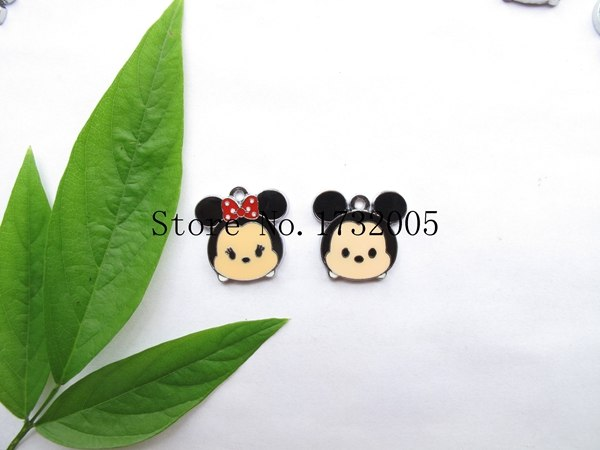 New 20 Pcs Cartoon Mickey Minnie Head Metal Charms Pendants DIY Jewelry Making Party Gifts PK-028