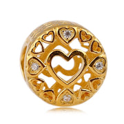 New 925 Sterling Silver Bead Charm Gold Color Shine Openwork Loving Circle With Crystal Beads Fit Pandora Bracelet Diy Jewelry