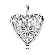 New 925 Sterling Silver Bead Charm Heart Of Winter With Glittering Ice Crystal Necklace Pendant Fit Pandora Bracelet Diy Jewelry