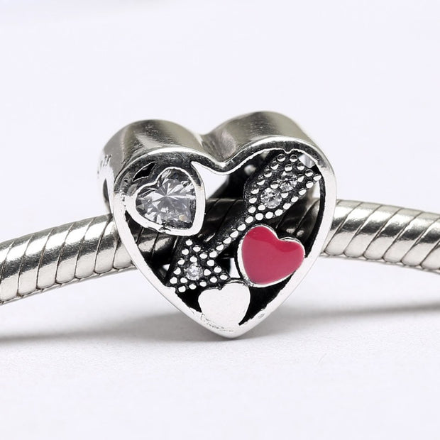 New 925 Sterling Silver Bead Charm Openwork Struck By Love With Crystal Cupid's Arrow Beads Fit Pandora Bracelet Diy Jewelry
