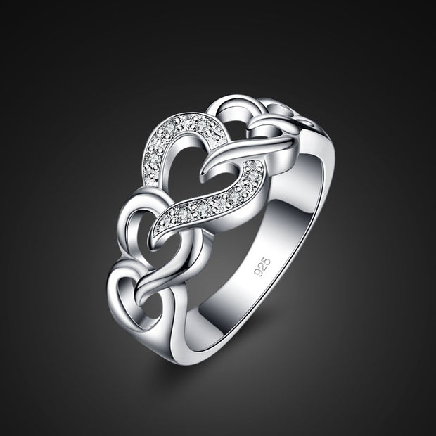 New 925 Sterling Silver Ring Chic Silver Heart To Heart Ring Girl Favorite Charm Jewelry Noble Silver Ring Valentine's Day Gift