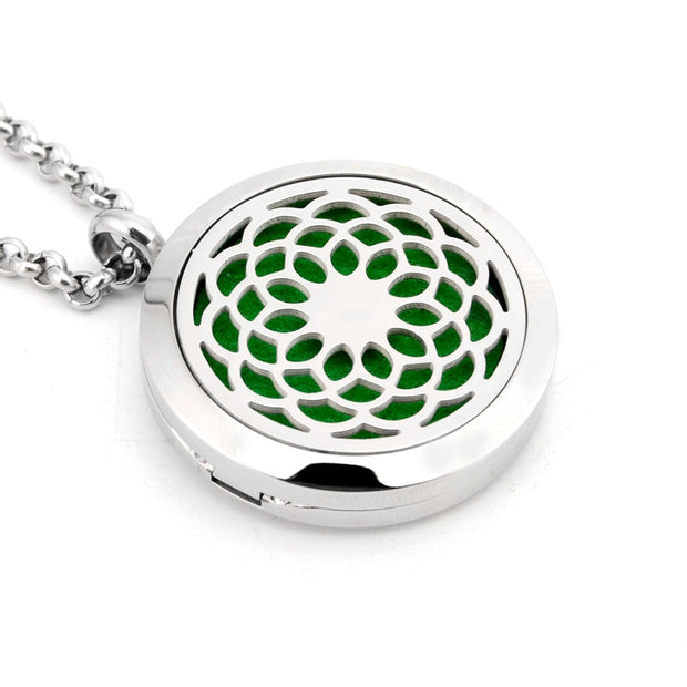 New Aromatherapy Necklace Silver Locket Essential Oils Diffuser Necklace 316L Stainless Steel Perfume Pendant Necklace For Women