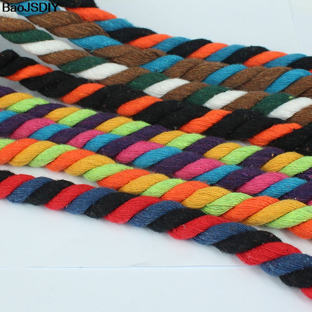 New Arrival 10mm 100% Cotton Three Colors Twisted Cords Rope Diy Jewelry Findings 5 Meters (T14966)
