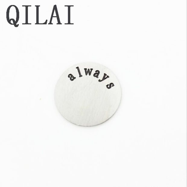 "New Arrival 22mm Stainless Steel ""always"" Locket Plate Fit 30mm Floating Lockets Pendant 10pcs/lot"