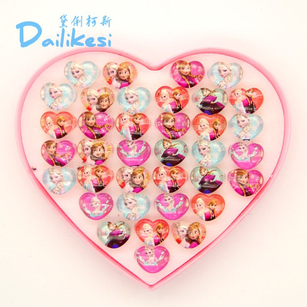 New Arrival 36pcs Free Box Packing Free Shipping Lovely Mix Resin Cartoon Girls Princess Children Rings Wholesale Jewelry Lots