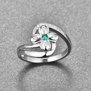 New Arrival 925 Sterling Silver Ring Petal Natural Green Cubic Zircon Twist Finger Rings For Women Wedding Jewelry Accessories