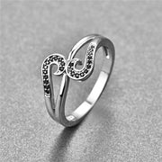 New Arrival 925 Sterling Silver Ring Romantic Music Notes Black Stone Fashion Finger Jwewlry For Women Party Wedding Ring Bijoux