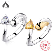 New Arrival 925 Sterling Silver Rings Zircon Angel Wings Silver Ring Jewelry Classic Couple Ring Adjustable Designs Wholesale