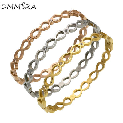 New Arrival Fashion Women Number 8 Stones Silver Rose Gold Stainless Steel Open Hollow Crystal Bangels Bracelet Jewelry
