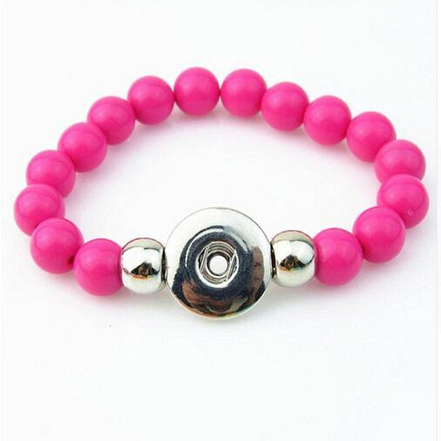 New Arrival Rose Red 10mm Beads Handmade Elastic Snap Button Bracelet For 18mm Snap Button Jewelry 5pcs/lot