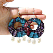 New Arriving African Ankara Earrings Fashion Handmade Ethnic Jewellery Tribal Earrings Fabric Round Earring For Women WYB271