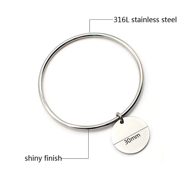 New Bangles Design Stainless Steel Silver Bangle Bracelets Round Charm Bracelets Bangles Women Costume Jewellery High Quality