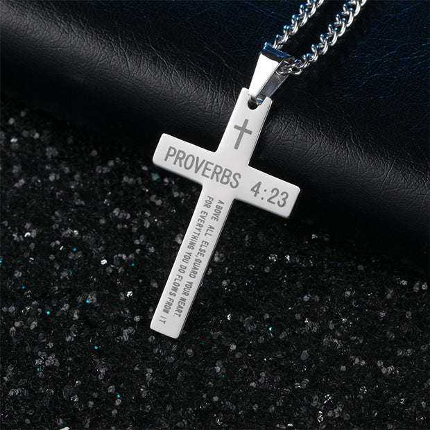 New Big Gold Silver Black Cross Christ Jesus Letter Pendant Necklace Stainless Steel Link Rolo Chain Heavy Men Jewelry Gift