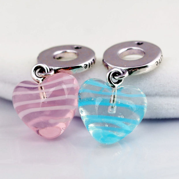 New Blue & Pink Ribbon Heart Murano Glass Pendant Beads Fit Pandora Bracelet Bangle Diy Jewelry 925 Sterling Silver Bead Charm