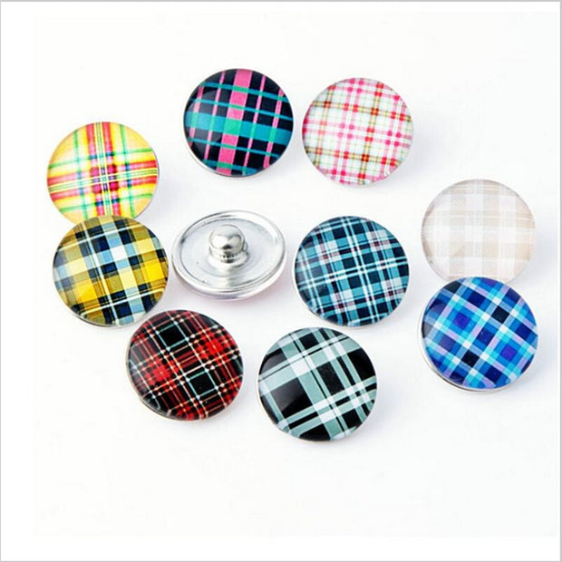 New Classical Glass Mix Simple Style Square Snap Buttons Charms For 18mm DIY Snap Bracelets Jewelry 20pcs