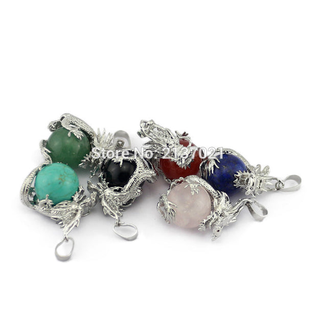 New Crystal Dragon Pendant Fashion Women Gifts Jewelry Chinese Style Culture Reiki Healing Stone Beads Luck Auspicious Necklace