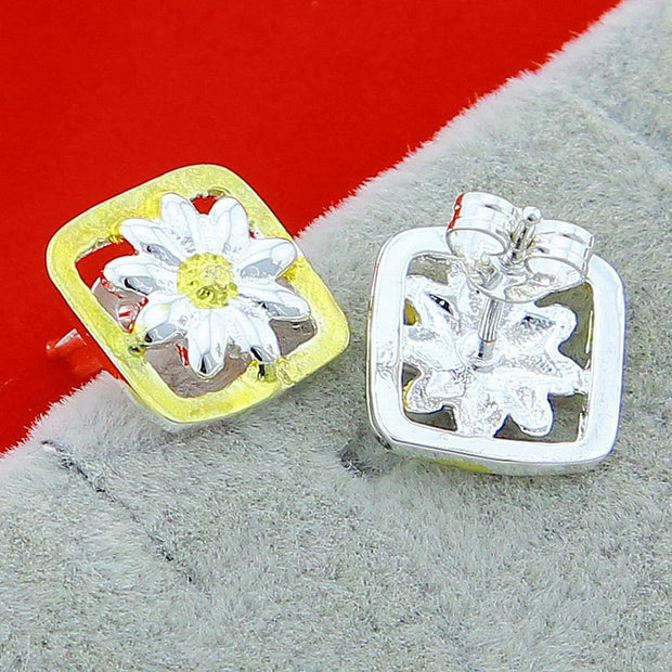 New Design 925 Silver Earrings Jewelry Color Square Daisy Stud Earring For Women Jewelry Gifts