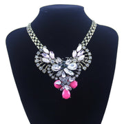 New Design Crystal Teardrop Flower Pendants With Metal Chain Luxurious Bubble Statement Necklace For Woman