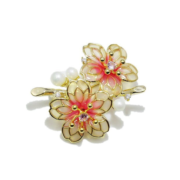 New Elegant Enamel Flower Brooch For Women Girl Dress Decoration Fashion Beauty Simulated Pearl Brooches Jewelry Wedding Gift