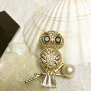 New Fashion Jewelry Gold Color Animal Owl Brooches For Women Wedding Bridal Apparel Accessories Christmas Gifts Brosches