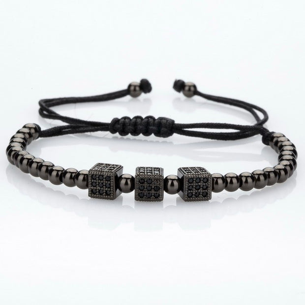 New Fashion Micro Pave Cubic Zirconia Charm Men's Bracelets Famous Braiding Macrame Brand Black Beads Bracelets Jewelry.