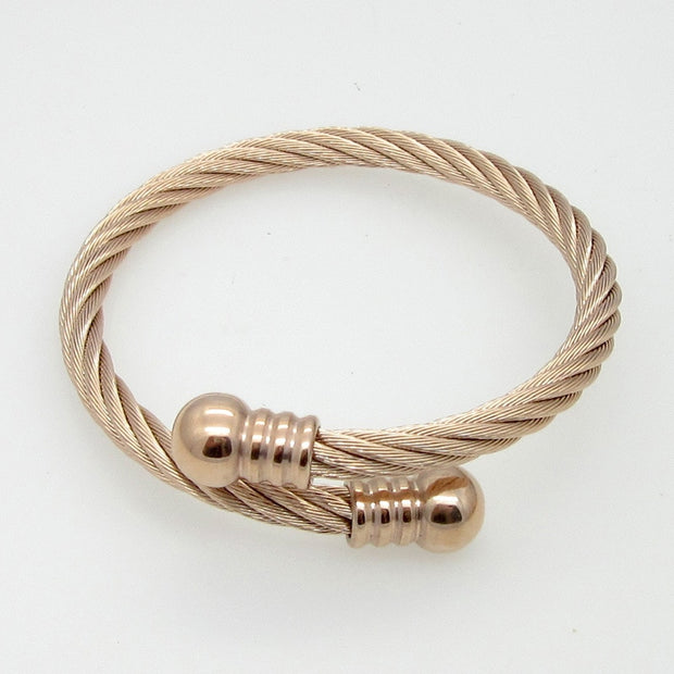 New Fashion Women Trendy Silver Rose Gold Stainless Steel Clasp Twisted Round Cuff Cable Wire Bangles Bracelets Jewelry