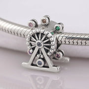 New Ferris Wheel With Multi-Colored Crystal Carriages Beads Fit Pandora Bracelet DIY Jewelry 925 Sterling Silver Bead Charm