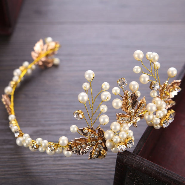 New Hair Accessories For Women Vintage Baroque Gold Metal Hairband Wedding Tiara And Crowns Crystal Pea Head Pieces Hair Jewelry