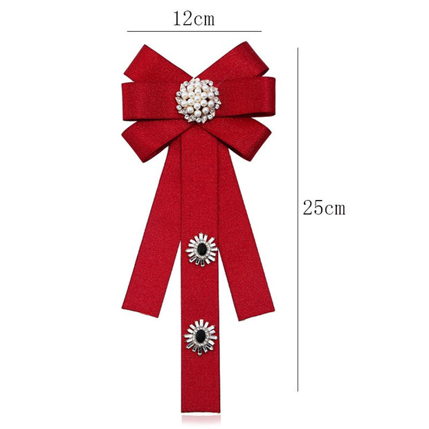 New Handmade Crystals Ribbon Bow Brooche For Women/Men Fashion Exquisite Brooch Pin Bowknot Brooches High Quality Good Gift
