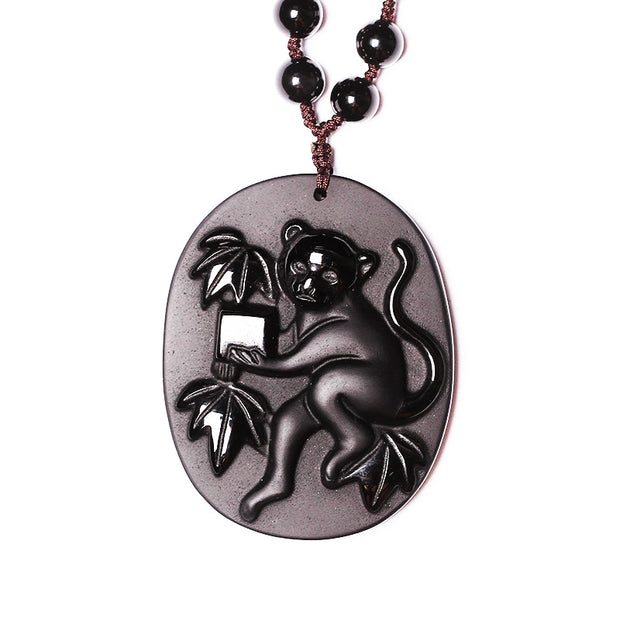 New Handwork Natural Black Obsidian Carved Chinese Twelve Zodiac Monkey Lucky Amulet Pendants Free Necklace Fashion Jewelry