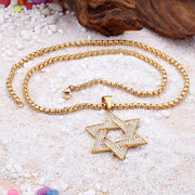New Inlay CZ David Star Titanium Steel Necklace Salomon Seal Hexagram Hip Hop Pendant Necklace Jewelry