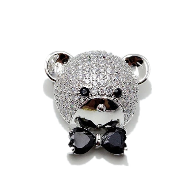 New Korean Cute Crystal Bowknot Bear Brooches Women Men Fashion Cubic Zirconia Animal Brooch Wedding Dress Collar Pins Jewelry