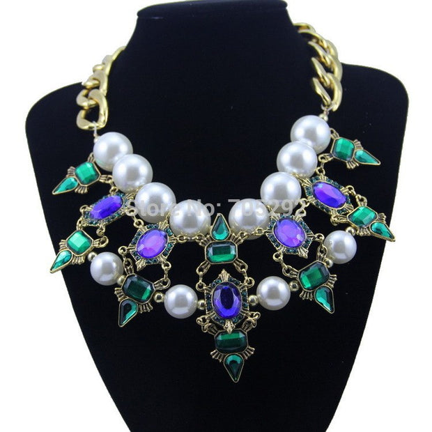 New Luxurious Vintage Pearl Crystal Stone Choker Statement Necklace For Women Multi-color