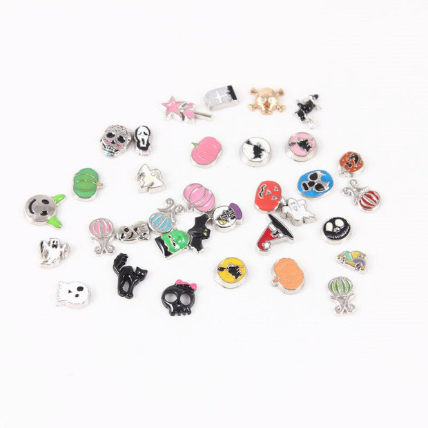 New Mix Halloween Style Enamel Floating Charms For Glass Living Lockets Floating Charms Memory Locket DIY Jewelry