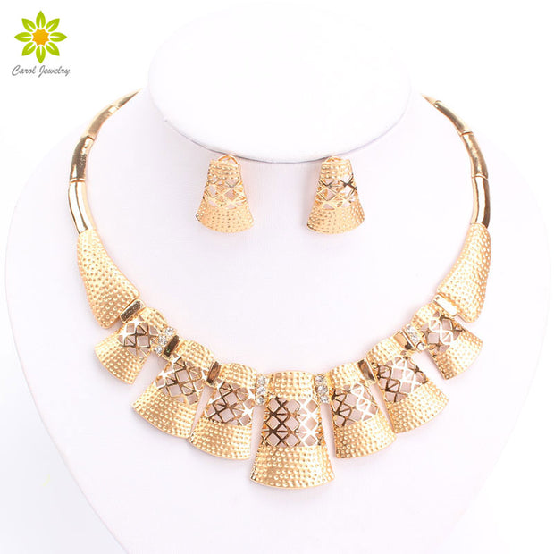 New Nobler Dubai Design Fashion Costume Crystal Necklace Earring Fine Dubai Gold/Silver Plated Jewelry Sets Gorgeous Shining