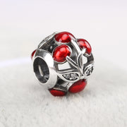 New Openwork Red Enamel Sweet Cherries Beads Fit Pandora Bracelet Bangle Diy Jewelry 925 Sterling Silver Bead Charm