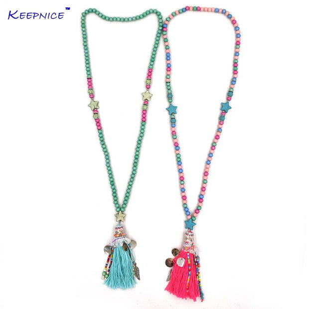 New Pink Tassel Five Stars Pentagon Pendents Necklace Boho Bohemiam Long Fringe Statement Wooden Beads Chain Maxi Necklaces