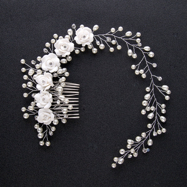 New Silver White Flower Hairband Simulated Pearl Rhinestone Wedding Hair Comb Bridal Tiaras Hairpins Hair Accessories Jewelry