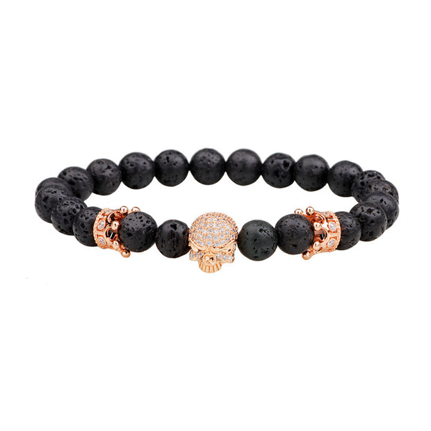 New Skull Buddha Beads Bracelets For Men Volcanic Stone Beaded Chain Bracelet Bangle Fashion Crystal Jewelry Best Gifts For Man