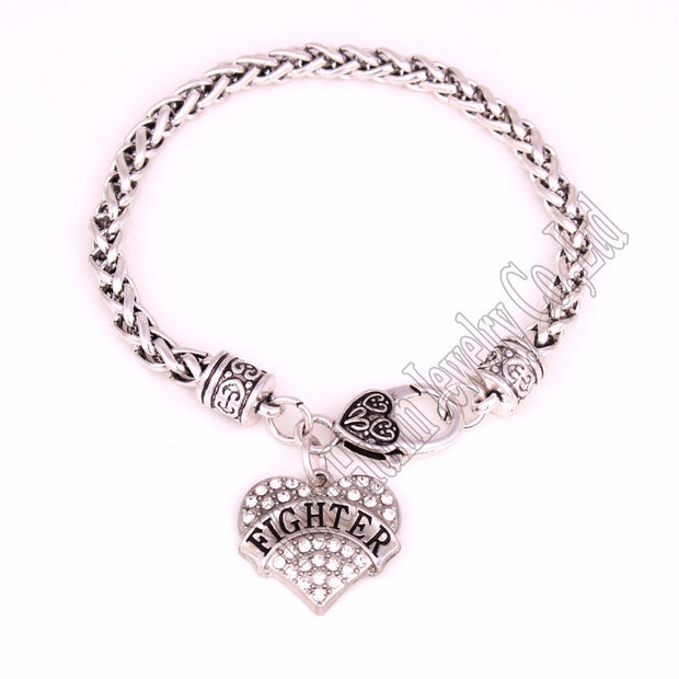 "New Styles FIGHTER Crystal Heart Silver Plated Charm With 24CM(9.4"") Wheat Chain Lobster Claw Bracelet Soldier Jewelry"