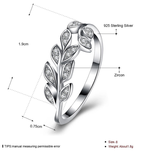 New Trendy Ring Authentic Sterling Silver Jewelry Olive Branches Leaves Ring 100% Fine 925 Sterling Silver Rings For Women Girl