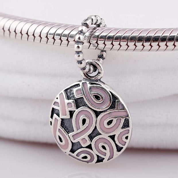 New Vintage Breast Cancer Pink Ribbon Necklace Pendant Fit Pandora Bracelet Bangle Diy Jewelry 925 Sterling Silver Bead Charm