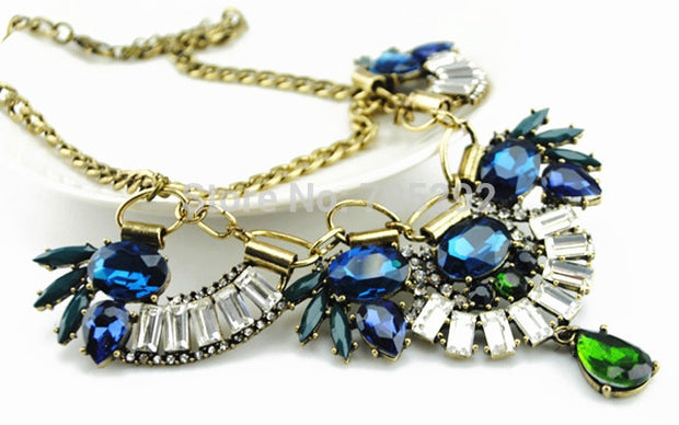 New Vintage Choker Gold Crystal Necklace & Pendant Fashion Statement Necklace For Women