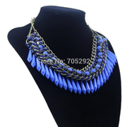 New Vintage Hot Luxury Multilayer Chain Charm Resin Necklace & Pendant Gold Fashion Statement Necklace For Women