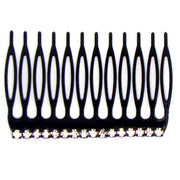 New Black Coated Curved Clear Rhinestone Hair Comb Ornament Jewelry Accessories Fashion Headwear Holder Hair Salon Headpiece 6pc