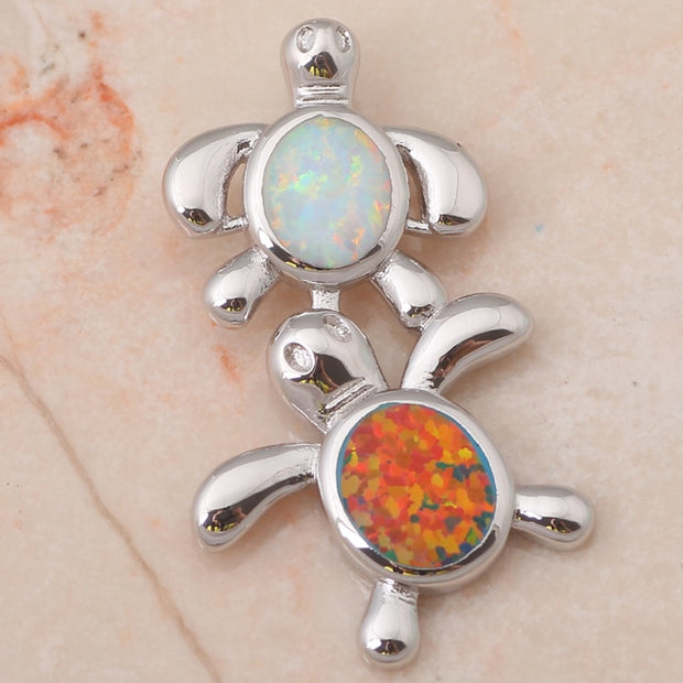 New Come Cost Prices Lovely Tortoise Style Online Color Fire Opal Silver Stamp Pendants For Women Fashion Jewelry OP464A