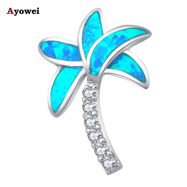 New Design Best Gift Wholesale Retail Party Tree Design Blue Fire Opal Stamp Silver Necklace Pendants Fashion Jewelry OP382A