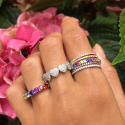 New Design Hot Sale Rainbow Mini Cz Eternity Ring Band Gold Filled Fashion Lady Finger Cz Rings Size #6-7-#8 For Wedding Jewelry